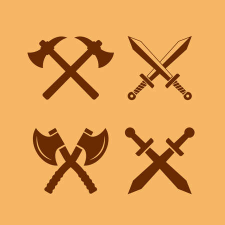 Medieval weapon vector icon set