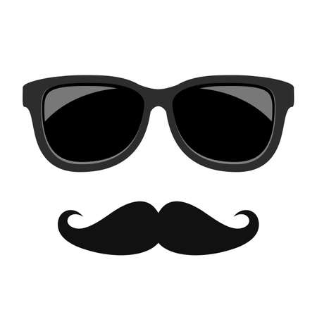 Hipster face moustaches and glasses on white background