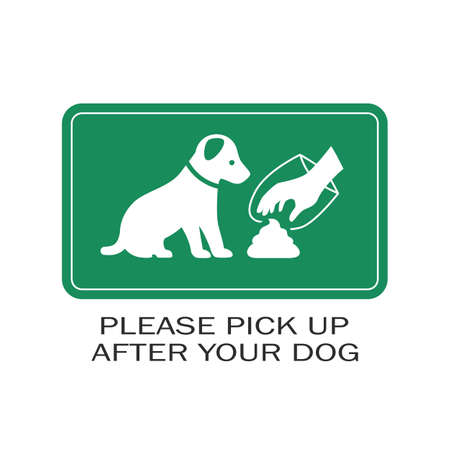 Green banner pick up after your dog on white background Ilustrace