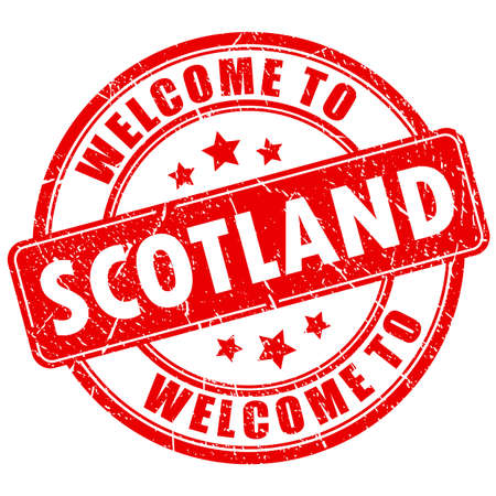 Welcome to Scotland red grunge stamp on white background