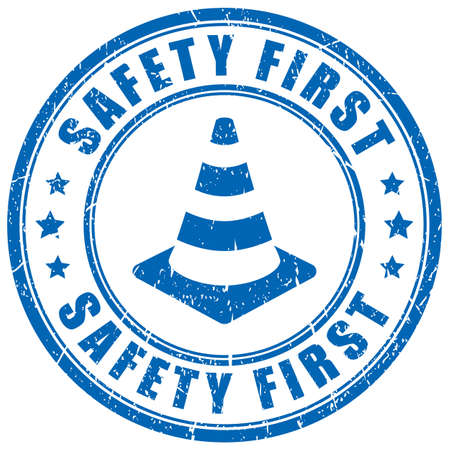 Safety first vector stamp on white background