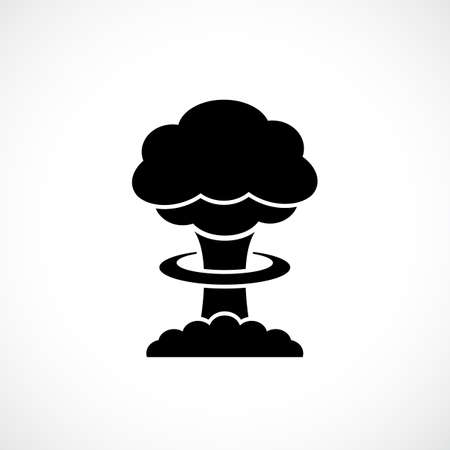 Black silhouette icon of nuclear explosion isolated on white background