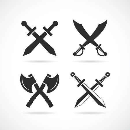 Crossed old weapon vector icon isolated on white background Illustration