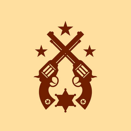 Old guns sheriff icon on sepia background