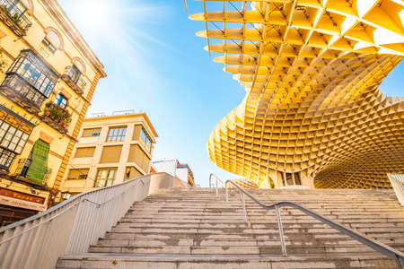 SEVILLE, SPAIN – 14 March, 2019: Metropol Parasol (Seville Mushrooms) photo Publikacyjne