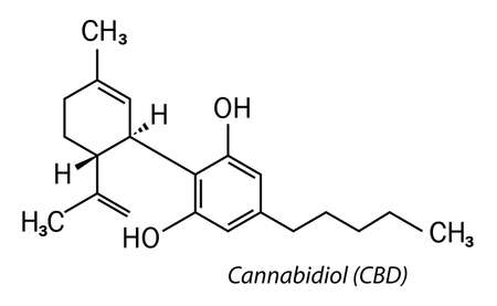 Cbd cannabidiol molecule icon on white background Ilustracja