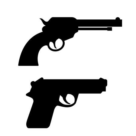 Gun silhouette vector icon set on white background