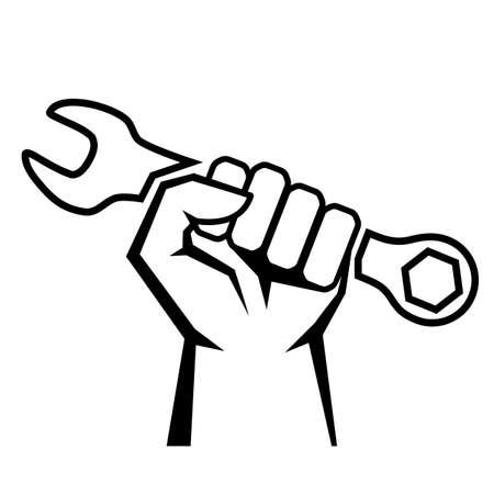 Ilustración de icono de vector de mano de trabajo aislado sobre fondo blanco