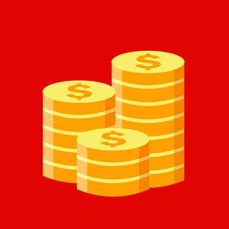 Gold coins stack vector icon isolated on red background
