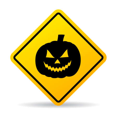 Halloween ahead caution sign isolated on white background