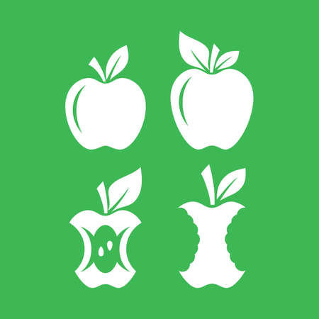 Apple silhouette on green background Ilustracja