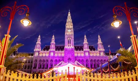 Vienna City Hall at night, Austria