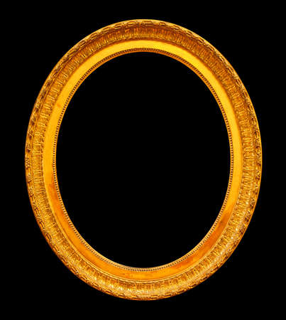 Gold oval mirror frame on black background