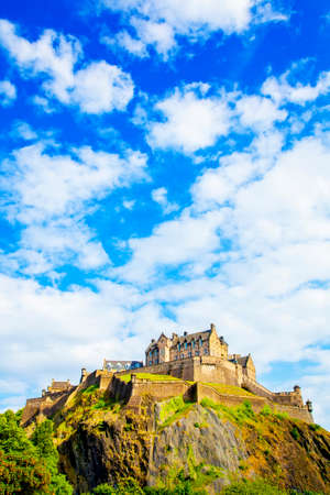 Ancient Edinburgh castle on the hill