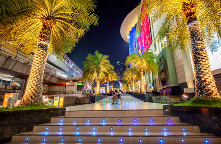 THAILAND, BANGKOK - 12 April 2019: Modern Siam shopping district at night