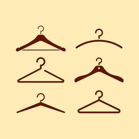 Coat hanger icon set, vector illustration