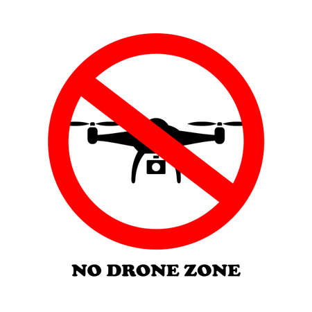 No drone zone vector sign isolated on white background