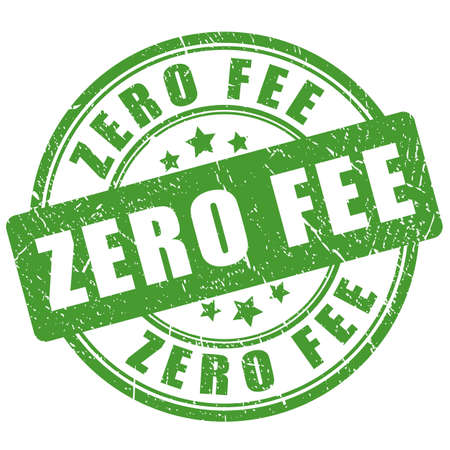 Green zero fee imprint on white background