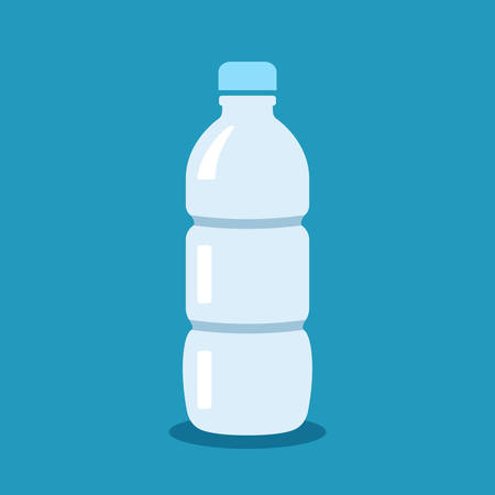 Water bottle vector cartoon on blue background