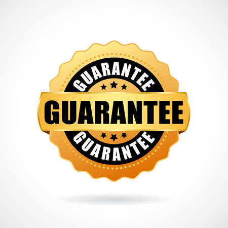 Guarantee gold badge on white background