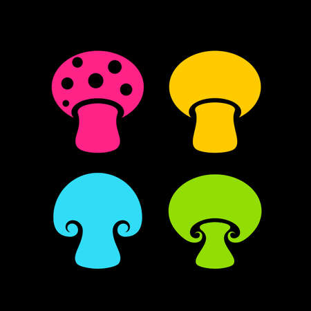 Colorful mushrooms vector icon isolated on black background