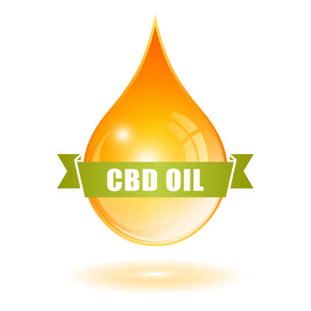 Yellow cbd oil drop isolated on white background Ilustracja