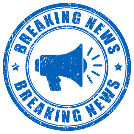 Breaking news vector stamp on white background