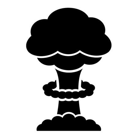 Armageddon concept icon with nuclear explosion on white background Ilustracja