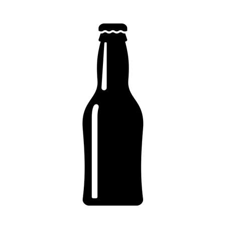 Beer bottle vector icon on white background