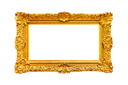 Wide splendid gold frame on white background