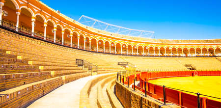 SEVILLE, SPAIN - 12 March 2019: Bull fighting arena (Plaza de toros)