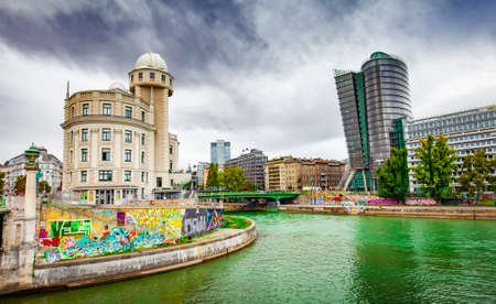 Danube Canal and Vienna city view, Austria