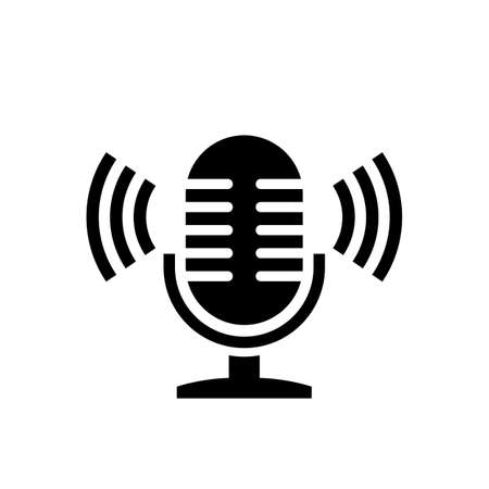 Microphone and sound waves vector icon on white background Фото со стока - 130165411