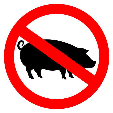 No pork meat vector sign isolated on white background