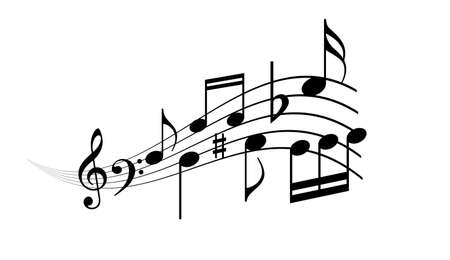 Musical wave with notes, vector cartoon on white background