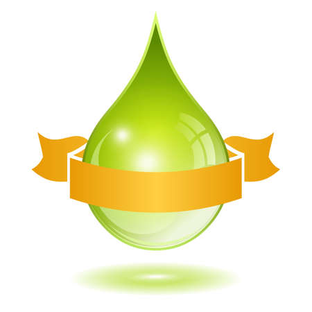 Oil drop with ribbon, vector illustration on white background