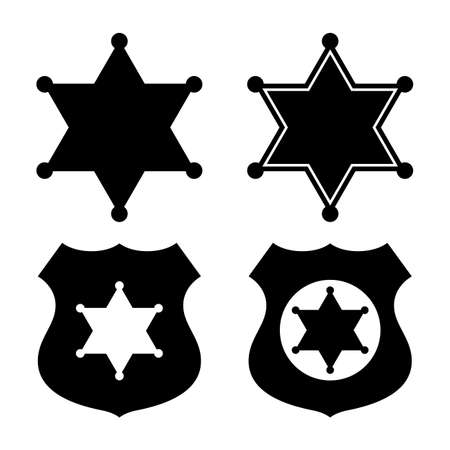 Sheriff star emblems set on white background