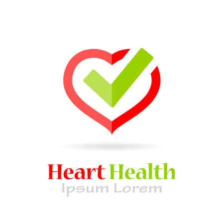 Herzgesundheitsvektor auf weißem Hintergrund
