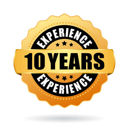 10 years experience gold vector seal isolated on white background