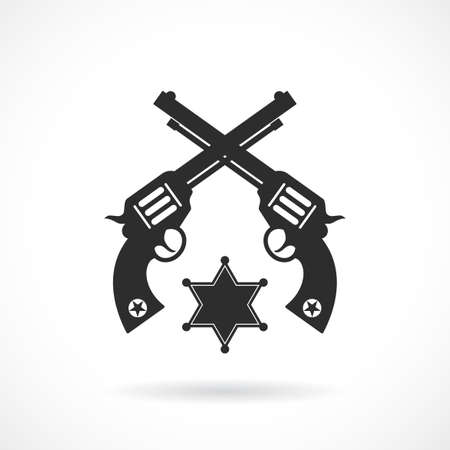 Crossed revolvers vector icon isolated on white background Çizim
