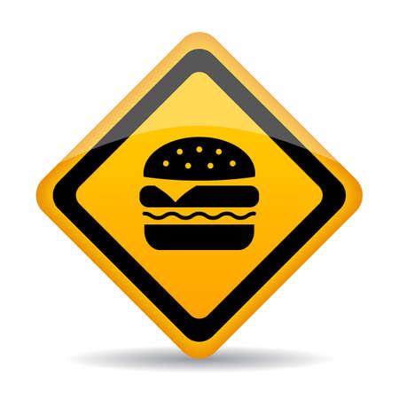 Señal de advertencia de comida chatarra aislado sobre fondo blanco.