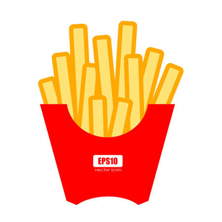French fries vector cartoon on white background