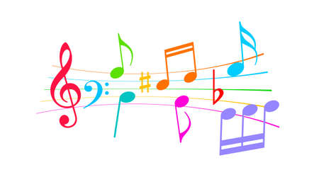 Colorful musical notes vector cartoon on white background