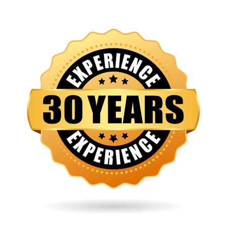 Icono de vector de experiencia de 30 años sobre fondo blanco