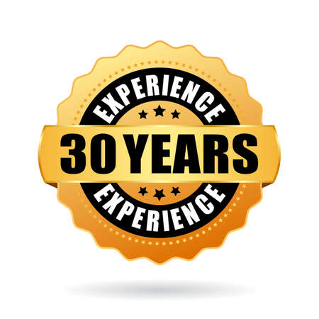 30 years experience vector icon on white background