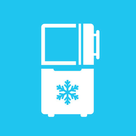 Freezer vector icon on blue background