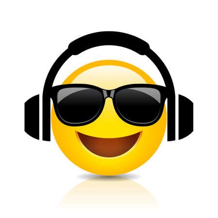 Emoji cool con le cuffie, cartone animato vettoriale