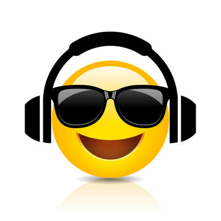 Cool emoji with headphones, vector cartoon