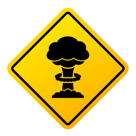 Nuclear warfare warning sign isolated on white background