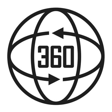360 degree vector icon isolated on white background Illustration